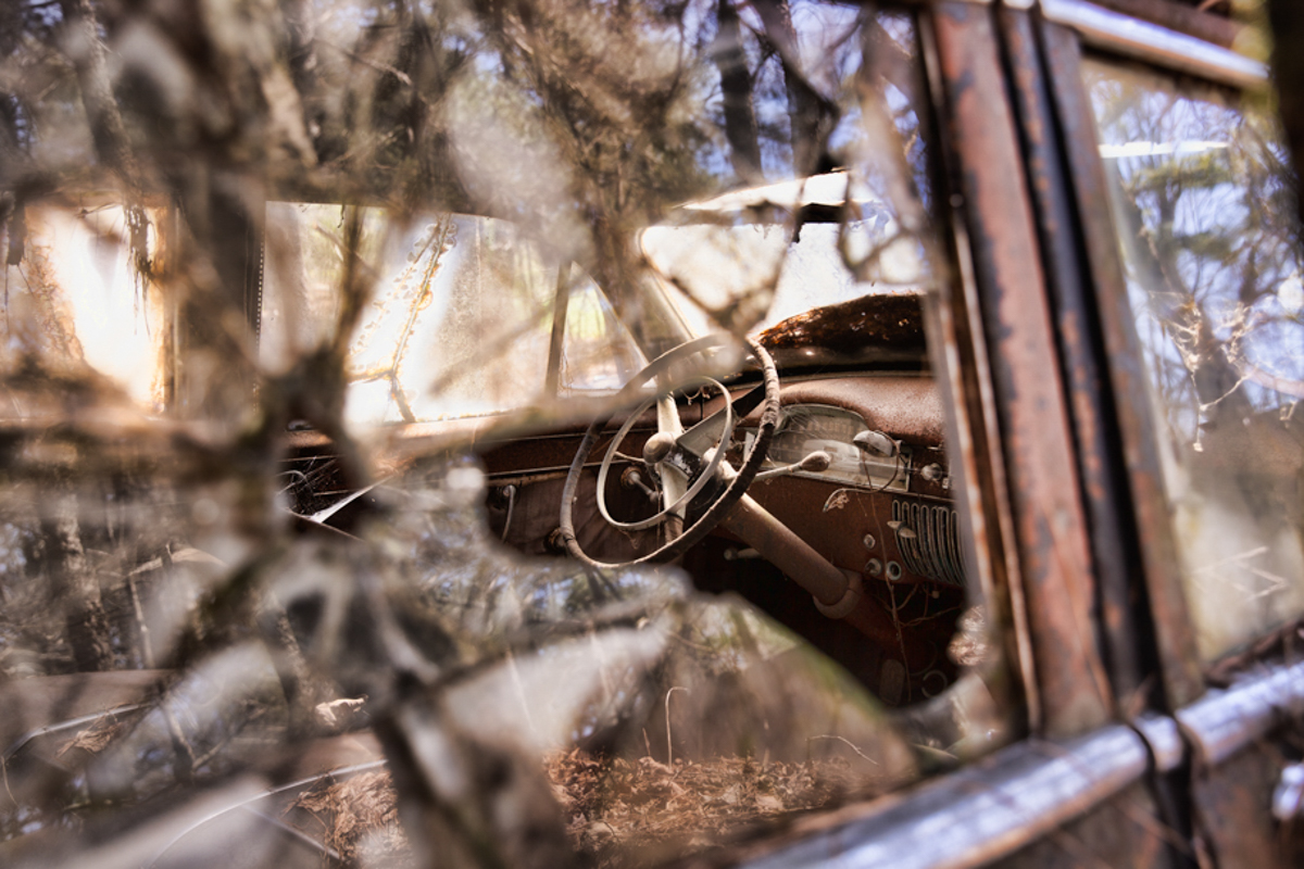 window view of old car